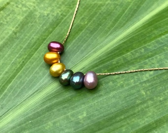 Floating rainbow freshwater pearl necklace