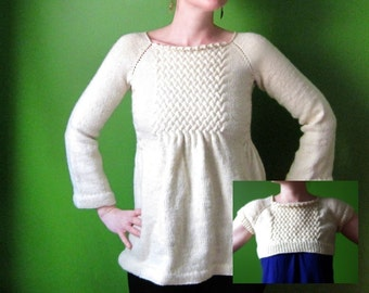 PDF knitting pattern- smocked empire tunic and micro sweater