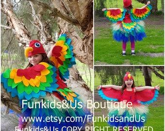 Parrot  Tutu Dress Costume - macaw costume, Paradise parrot tutu complete set  , bird costume, bird tutu
