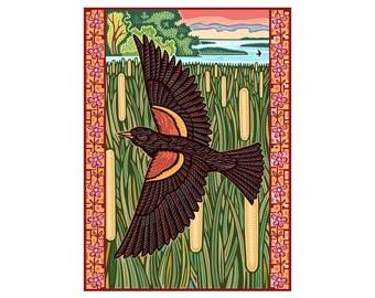 Red Winged Blackbird Foldover Card