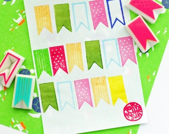 flag bunting rubber stamp set   party ribbon banner stamp   diy birthday baby shower scrapbooking   hand carved by talktothesun   set of 4