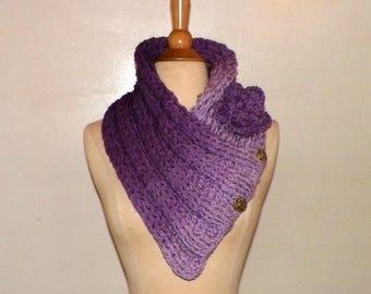 Scarf Cowl Purple Triangle Infinity Outlander Oversized Ivory Celtic Highland Chunky Neckwarmer Crochet Knit Womens Winter Scarf