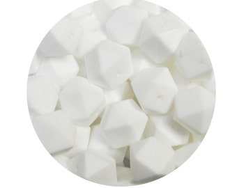 5 Nursing Necklace Silicone Beads, silicone hexagon beads, teething necklace beads, geometric beads, white teething beads  #294073