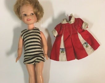 Vintage Deluxe Reading Corporation Penny Bright Doll with Original Dress and extra black and white striped bathing Suit - 1963