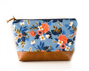 Bridesmaid Gift, Floral Zipper Pouch, Make Up Bag, Wet Bag, Diaper Holder, Rifle Paper Co Fabric