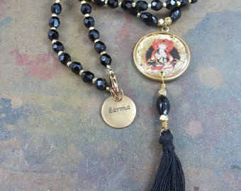 Black Crystal Victorian Mourning Bead Mala with Buddha Amulet