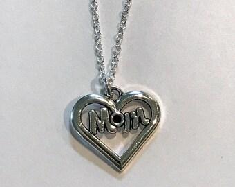 Mom Heart Necklace - Mom Gift - Mother's Day - Birthday - Swarovski Crystal