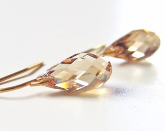 Gold crystal earrings - champagne crystal earrings - gold earrings - Swarovski earrings - gold teardrop earrings - crystal earrings