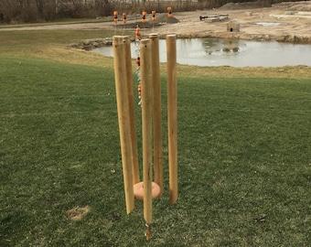 Bamboo wind chime. Windchime with beads, garden decor, patio decor, handmade windchimes