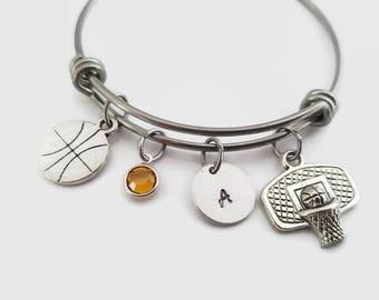 Basketball bangle - Basketball hoop and ball bracelet - Basketball mom gift - Personalized bangle - Initial charm bracelet - Basketball love