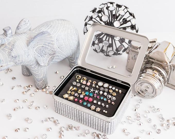 Tin Jewelry Box, Silver Jeweled  Ribbon, Earring Organizer - One Layer