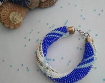 Beaded crochet bracelet Blue bracelet Lucky summer bracelet Inspiring jewelry Beadwork bracelet Geometric bracelet Inexpensive jewelry