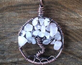 Rose Quartz Tree of Life pendant with oxidized copper wire