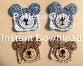 Teddy Bear Crochet Granny Square PDF Instant Download Crochet Pattern Only. Easy Crochet Pattern for Beginners. Teddy Bear Granny Square