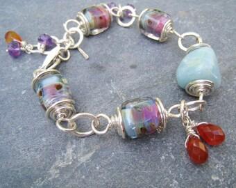 Lampwork Glass Bracelet, Amazonite Bracelet, multigemstone bracelet, hammered silver bracelet, blue bracelet, amethyst bracelet, SweetTaBou
