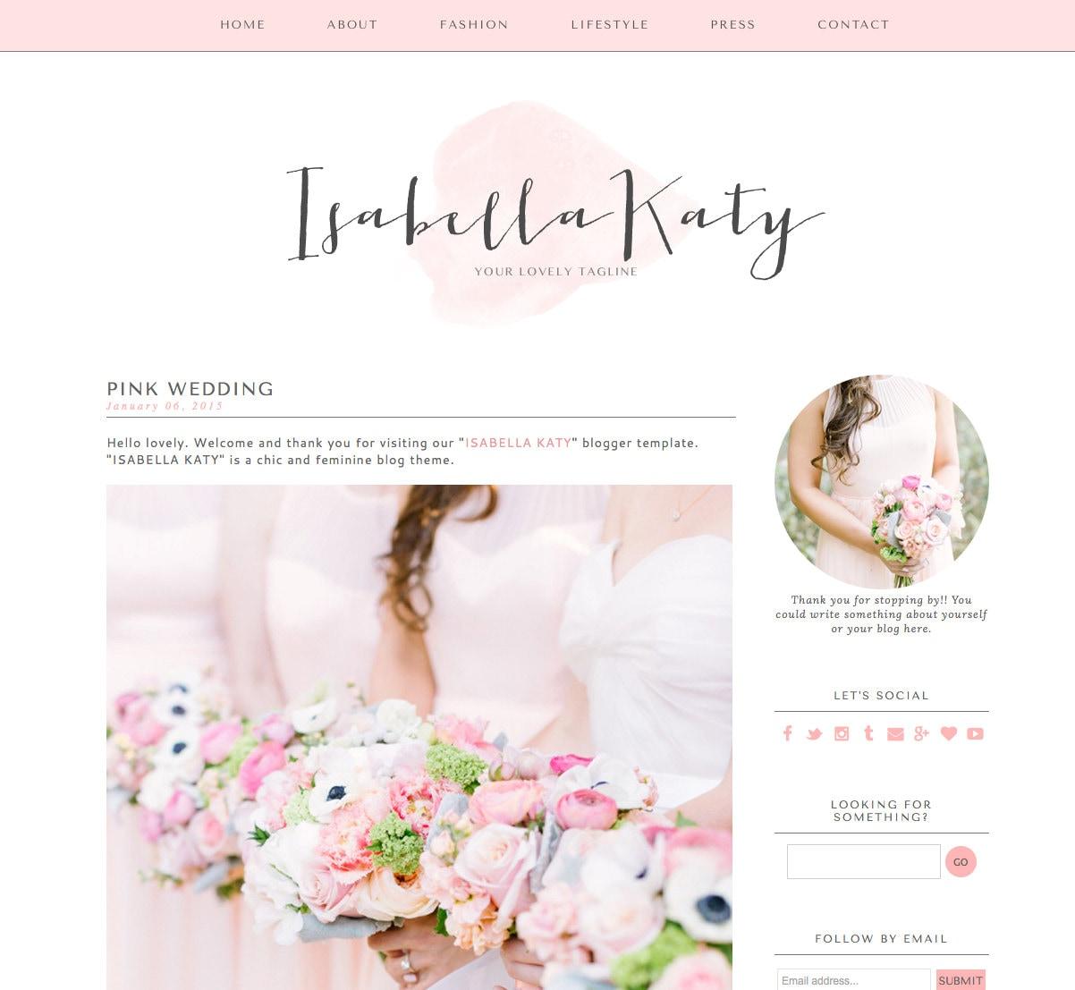 Blogger-Vorlage vorgefertigte Blog-Template Design Isabella