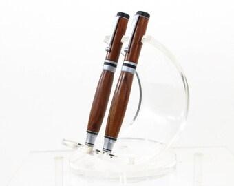 Set penna e rullo argento legno naturale dell'impiallacciatura legno esotico: Mopane chiusura del tappo a vite.