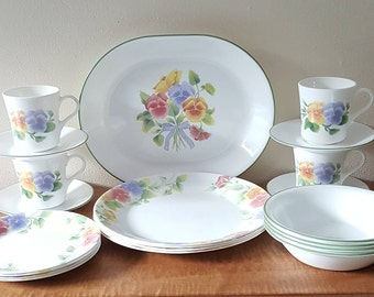 Corelle Summer Blush Rare Corelle Dinnerware 21 Piece Set for 4 Made in the USA : summer dinnerware sets - pezcame.com