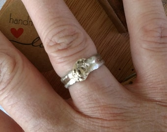 14k Gold and Sterling Silver Reticulated ring