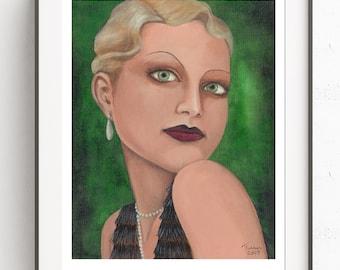 Vintage Deco Flapper Girl~Green Eyes ~Art Deco~Digital Art~Printable Art~INSTANT DOWNLOAD
