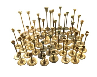 FREE SHIPPING! 30 Vintage Brass Candlestick Candleholders - Graduated Tarnished Candle Holders Wedding Decor - Mid Century Modern