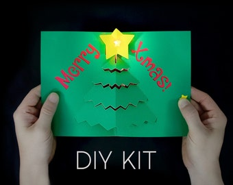 Merry X-Mas! Light-Up Card Kit - DIY Christmas Card - Pop-Up Card - Paper Electronics - STEM gift - S.T.E.M. Gift - STEAM Project - diy gift