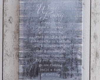 Winter Living Canvas Print, Frosty Forest Photo, Lodge and Cabin Decor, Gallery Wrap Canvas