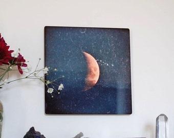 Opportunity, Metal panel, Moon Photograph on aluminum, waxing crescent Moon in blue sky, aluminium high gloss blue & gold wall art,