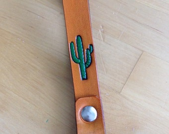 Leather Wristlet Keychain Cactus Arizona Brown Key Ring  Your choice of colors