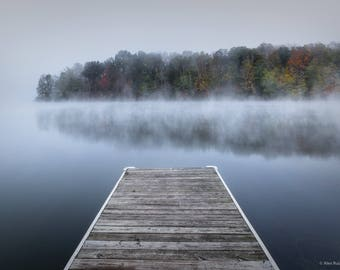 Hocking Hills - Dock with Fog-lined Autumn Trees  - Fine Art Photography - Landscape Print - Wall Art - Wall Decor