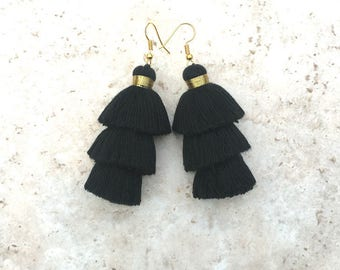 Taylor Black Earrings, Handmade Tassel Earrings, Black Jewelry, Black Earrings, Long Dangle Earrings, Earrings Black, Modern, Boho Jewelry