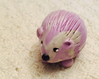 Mini marble Hedgehog of Hedgehog Bog choose your color combination shown here in lilac and white swirl