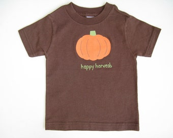 Pumpkin T Shirt, Thanksgiving Shirt, Fall Harvest, Hand Painted Cotton Tee or Top for Baby and Toddler, Short Sleeve