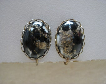 Black Gold Cab Earrings Clip White Vintage