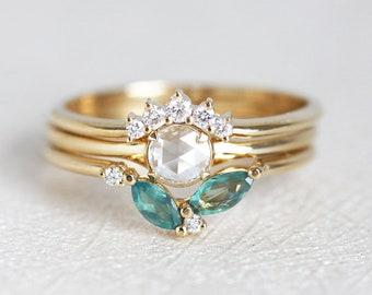 Morning Dew Diamond Ring Set, Unique Diamond Ring Set, Unique Wedding Ring Set, Rose Cut Diamond RIng Set, Alexandrite Ring, Diamond Set