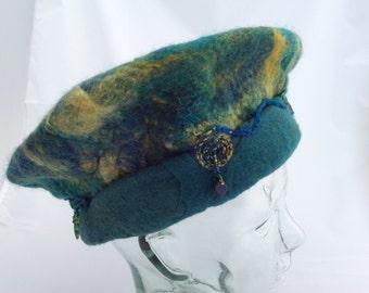 Beaded Rolled Brim Beret Blue, Teal, and Gold Felt Hat