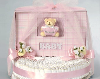 Pink Bear Baby Book Diaper Cake Gift