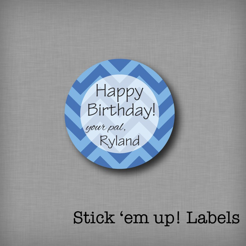 Personalized Birthday Stickers Kids Gift Tags Boys Present Labels Chevron Sticker From StickEmUpLabels On Etsy Studio