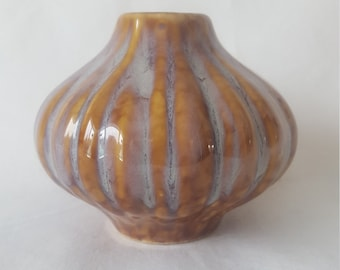 Vintage Brown and White Glaze Ceramic Bud Vase