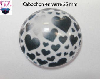 1 cabochon clear 25 mm round heart theme
