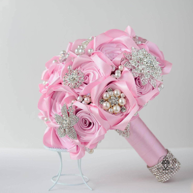 Ramo de novia flores broche ramo Perla plata mariposa ramo