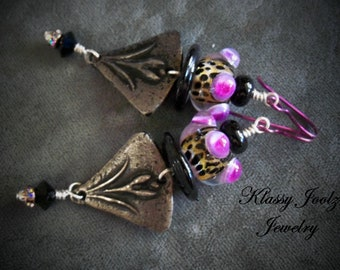 Pewter and Glass Lampwork Beaded Earrings-Flower Pewter Charms-Flower Earrings-Artisan Earrings-Tribal-Primitive-Rustic Earrings-SRAJD