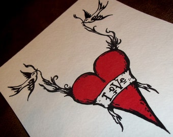 Tattoo Swallows with Love and Heart Romantic Print  Birds 5x7 Art Print by Agorables Undead Valentine Day