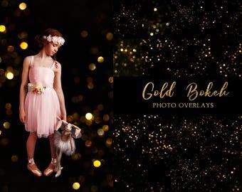 50 Gold Bokeh photo overlays