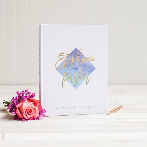 Wedding Guest Book with real Gold Foil wedding guestbook ombre watercolor custom guestbook book personalized instant photo signin hardcover