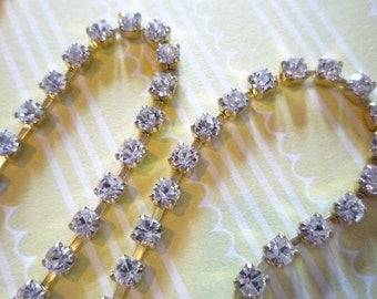 3mm Clear Rhinestone Chain - Brass Setting - Crystal Clear Preciosa Czech Crystals
