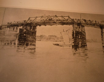 Old Battersea Bridge James McNeil Whistler large 1927 photogravure print suitable for framing art lovers London East End