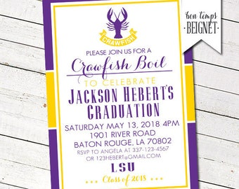 LSU themed Crawfish or Shrimp Boil Party - Graduation - Engagement - Birthday - Shower - Diaper Party PRINTABLE Invitation