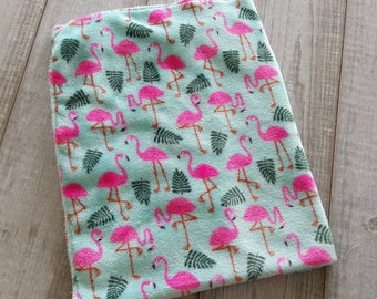 Blanket, minky plush - Flamingo Pink and turquoise