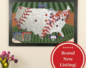 Personalized Baseball Adventures Travel Map - Baseball Stadium Map - Ballpark Map - Baseball Tracking - Baseball Map - Push Pin Travel Map